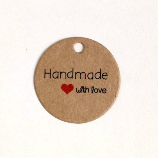 Papieranhänger braun rund handmade with love