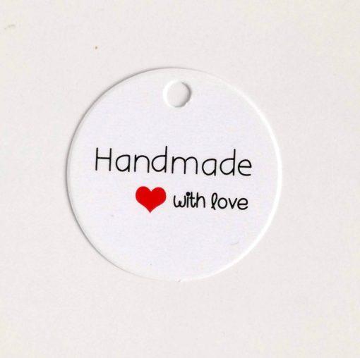 Papieranhänger weiss rund handmade with love