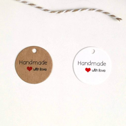 Papieranhänger rund handmade with love