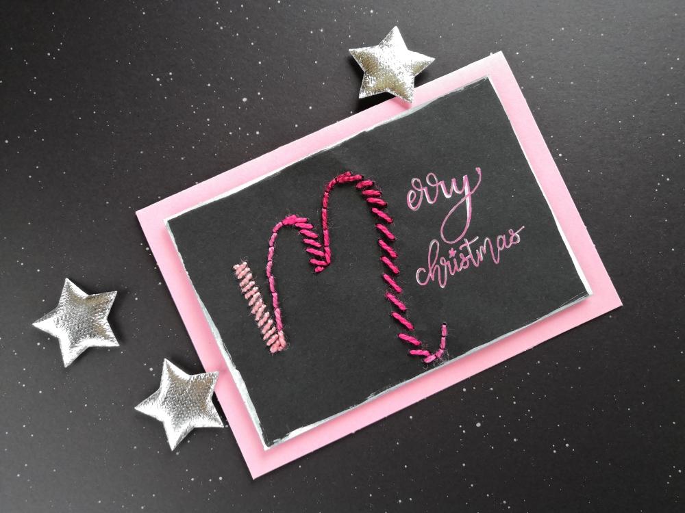 DIY-Weihnachtskarte mit Wolleresten und Lettering