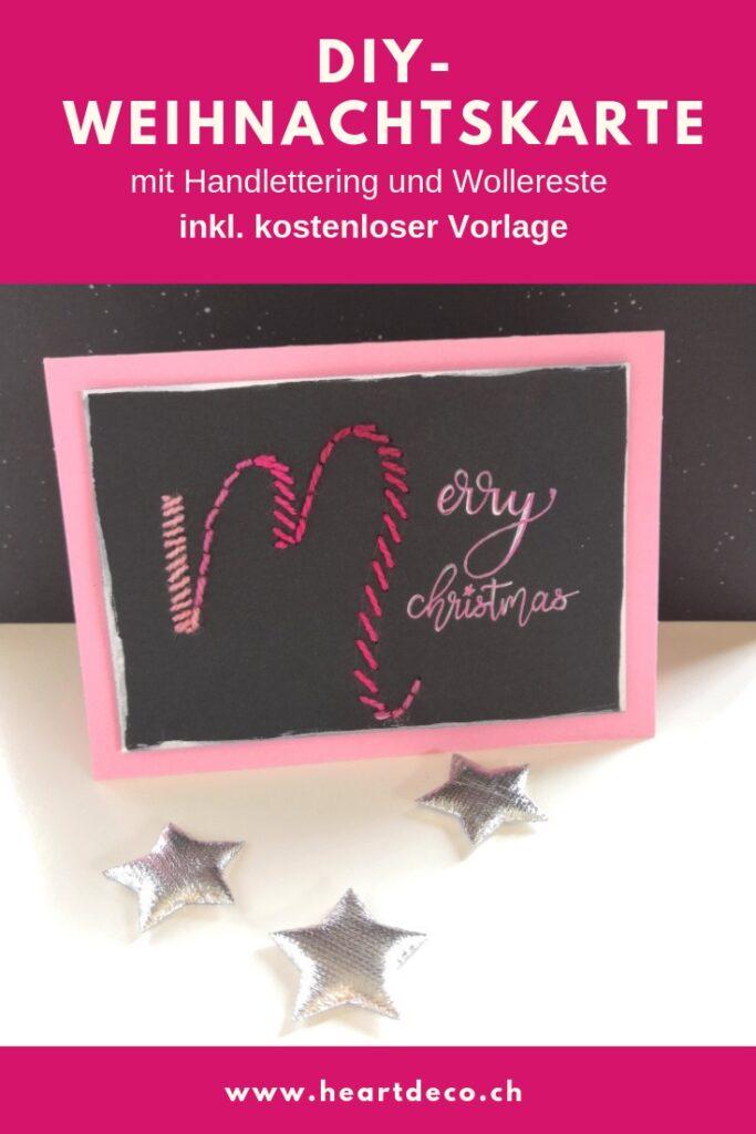 Heartdeco Weihnachtskarte mit Lettering und Wolleresten