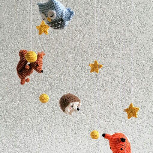 Heartdeco Mobile mit Waldtieren mit Mond und Sternen