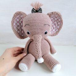 HeArtDeco Spieluhr Elefant gehäkelt