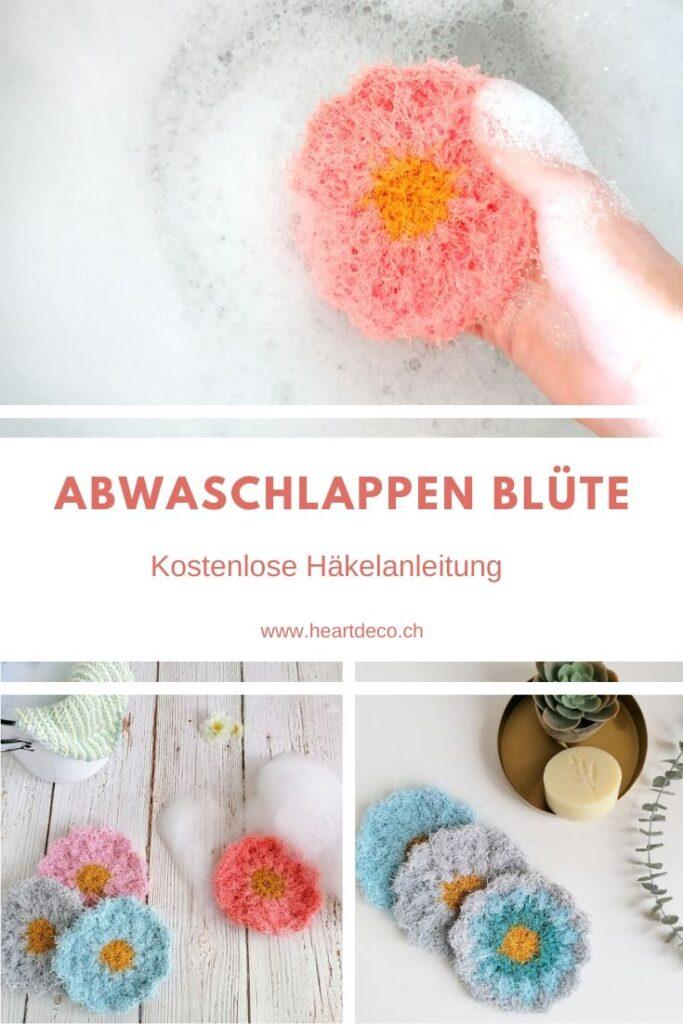 Heartdeco Abwaschlappen Blüte häkeln - kostenlose Anleitung