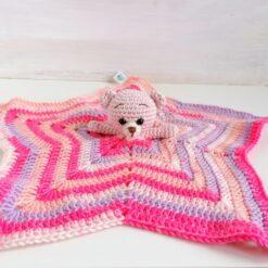 Heartdeco Schnuffeltuch Bär rosa gehäkelt
