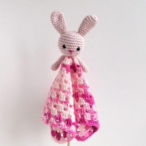 Heartdeco Schnuffeltuch Hase rosa gehäkelt