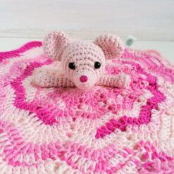 Heartdeco Schnuffeltuch Maus rosa gehäkelt