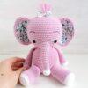 Heartdeco Spieluhr Elefant gehäkelt rosa