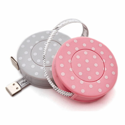 Massband Polka dots rosa / grau