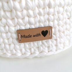 Heartdeco Label Kunstleder Made with love quer